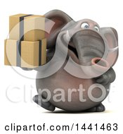 3d Elephant Character Holding A Box On A White Background