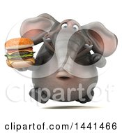 3d Elephant Character Holding A Double Burger On A White Background
