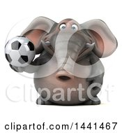 3d Elephant Character Holding A Soccer Ball On A White Background