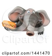 3d Elephant Character Holding A Hot Dog On A White Background
