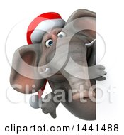 3d Christmas Elephant Character On A White Background