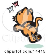 Frisky Orange Cat Chasing Pink And Blue Butterflies In The Spring Clipart Illustration