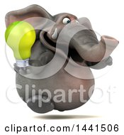 3d Elephant Character On A White Background