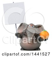 3d Elephant Character Holding A Navel Orange On A White Background