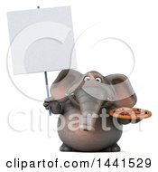 3d Elephant Character Holding A Pizza On A White Background