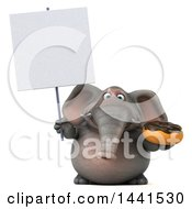 3d Elephant Character Holding A Donut On A White Background