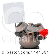 3d Elephant Character Holding A Heart On A White Background