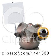 3d Elephant Character Holding A Tv On A White Background