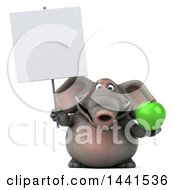 3d Elephant Character Holding A Green Apple On A White Background