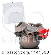3d Elephant Character Holding A Devil Head On A White Background