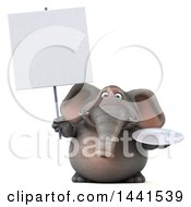 3d Elephant Character Holding A Plate On A White Background