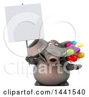 3d Elephant Character Holding Speech Bubbles On A White Background