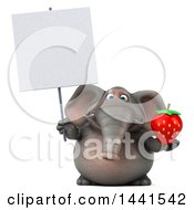 3d Elephant Character Holding A Strawberry On A White Background