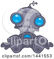 Clipart Of A Depressed Blue Eyed Robot Sitting On The Ground Royalty Free Vector Illustration by John Schwegel
