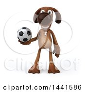 Poster, Art Print Of 3d Brown Chocolate Lab Dog On A White Background