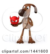 3d Brown Chocolate Lab Dog On A White Background