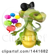 Clipart Of A 3d Crocodile On A White Background Royalty Free Illustration by Julos