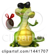 3d Crocodile Holding A Chocolate Egg On A White Background