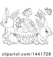Clipart Of A Black And White Lineart Basket Of Easter Eggs Butterflies And Rabbits Royalty Free Vector Illustration