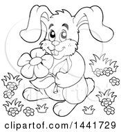 Black And White Lineart Happy Bunny Rabbit Holding A Flower