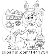 Clipart Of A Black And White Lineart Happy Girl Holding A Basekt Of Easter Eggs By A Rabbit Royalty Free Vector Illustration