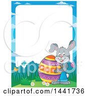 Clipart Of A Border Of A Happy Gray Easter Bunny Rabbit Holding A Giant Egg Royalty Free Vector Illustration