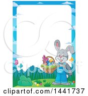 Clipart Of A Border Of A Happy Gray Easter Bunny Rabbit Holding A Basket Royalty Free Vector Illustration
