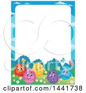 Clipart Of A Border Of A Group Of Happy Easter Eggs In Grass Royalty Free Vector Illustration