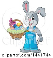 Clipart Of A Happy Gray Easter Bunny Rabbit Holding A Basket Royalty Free Vector Illustration