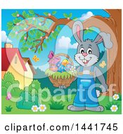 Clipart Of A Happy Gray Easter Bunny Rabbit Holding A Basket By A Tree Royalty Free Vector Illustration