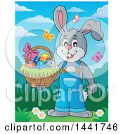 Clipart Of A Happy Gray Easter Bunny Rabbit Holding A Basket In A Spring Landscape Royalty Free Vector Illustration