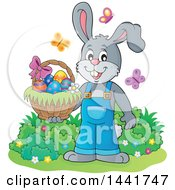 Happy Gray Easter Bunny Rabbit Holding A Basket With Butterflies
