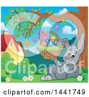 Happy Gray Easter Bunny Rabbit Resting And Holding A Basket Under A Tree