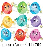 Clipart Of Happy Easter Egg Mascots Royalty Free Vector Illustration