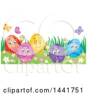 Clipart Of A Group Of Happy Easter Eggs In Grass Royalty Free Vector Illustration by visekart