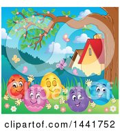 Clipart Of A Group Of Happy Easter Eggs In Grass Under A Tree Royalty Free Vector Illustration