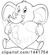 Poster, Art Print Of Black And White Lineart Valentine Elephant Hugging A Heart