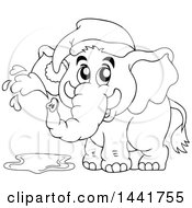 Black And White Lineart Elephant Wearing A Nightcap And Squirting Water