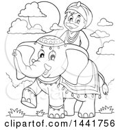 Clipart Of A Black And White Lineart Happy Indian Man Riding An Elephant Royalty Free Vector Illustration
