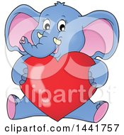 Clipart Of A Valentine Elephant Sitting And Hugging A Love Heart Royalty Free Vector Illustration by visekart