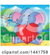 Poster, Art Print Of Valentine Elephant Sitting And Hugging A Love Heart In A Landscape