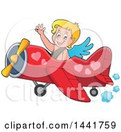 Clipart Of A Valentines Day Cupid Waving And Flying An Airplane Royalty Free Vector Illustration by visekart
