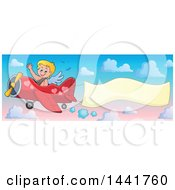 Valentines Day Cupid Waving And Flying An Airplane With An Aerial Banner In A Colorful Sky