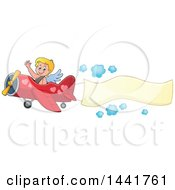 Valentines Day Cupid Waving And Flying An Airplane With An Aerial Banner