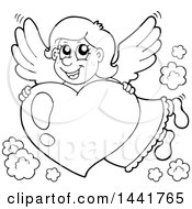 Black And White Lineart Valentines Day Cupid Or Angel Flying With A Heart