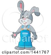 Clipart Of A Happy Gray Bunny Rabbit Wearing Overalls Royalty Free Vector Illustration by visekart