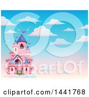 Clipart Of A Pink Fairy Tale Castle In The Sky Royalty Free Vector Illustration by visekart