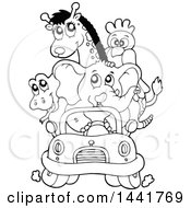 Clipart Of A Black And White Lineart Car Full Of Zoo Animals Royalty Free Vector Illustration by visekart