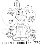 Black And White Lineart Happy Bunny Rabbit Wearing Overalls