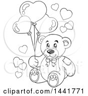 Poster, Art Print Of Black And White Lineart Valentine Teddy Bear Holding Heart Balloons